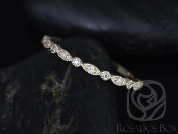 Rosados Box Ultra Petite Bead & Eye 14kt Yellow Gold Vintage WITH Hand Milgrain Diamonds HALFWAY Eternity Band