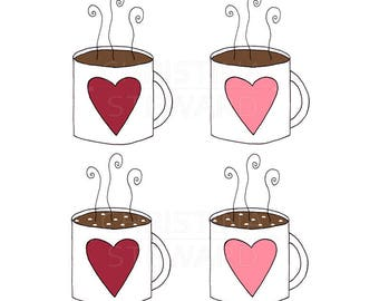 Coffee Clip Art, Hot Chocolate Clip Art, Hot Cocoa Clip Art, Food and Drink, Hand Drawn, PNG, Transparent Background, Digital Download