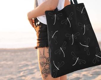 Dragonfly Tote Bag, Black and White Bag, Totes, Reusable, Beach Bag, Bags, Tote Bags, Tote, Big Tote Bag, Grocery Bag, Shoulder Bag