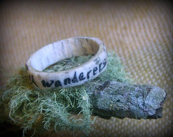 The Wanderer Antler Ring. Handmade carved Elk antler ring. Made to order in YOur size. Rustic woodland wedding band