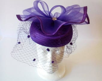Satin Braid Pill Box Hat W/ Mesh Bow & Netting