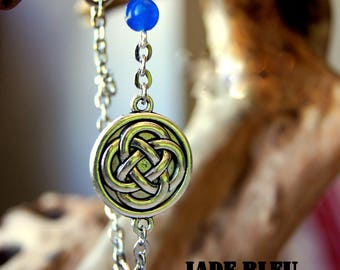 Celtic knot bracelet, and blue agate