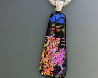 Black Patterned Dichroic Glass Pendant, Soft Rectangle Pendant, Fused Glass Jewelry, Dichroic Fused Glass Pendant, Glass Necklace