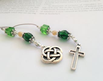 Classic Celtic Bookmark Book Thong Irish Gift in Emerald Green Elegant Beaded with Irish Celtic Knot and Silver Cross Charms St. Patrick