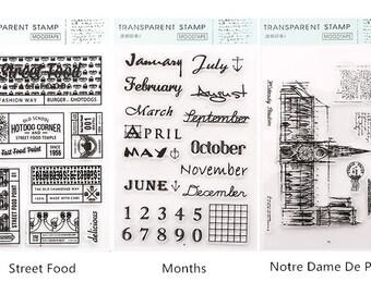 Vintage Style Clear Stamps Set #6 - Street Food, Months, Notre Dame De Paris, Planner, Journal, Craft, Scrapbooking, Decoration