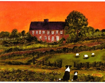 Border Collie Dog Folk Art print of Todd Young painting SUNSET WATCH