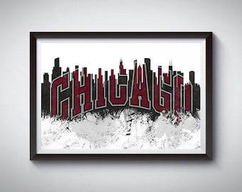 Chicago Basketball Inspired Art Poster Print, Chicago, Illinois Skyline Poster