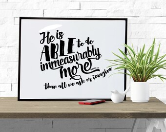 Ephesians 3:20 Immeasurably More Than All We Could Ask Or Imagine Printable Bible Verse