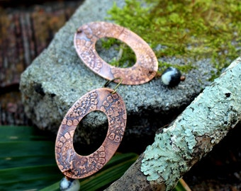 Aztec Etched Copper Dangle Earrings with Agate
