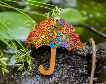 Cute Floral Umbrella Brooch - Hand painted designer wood brooch with flowers, unique Australian design, OOAK