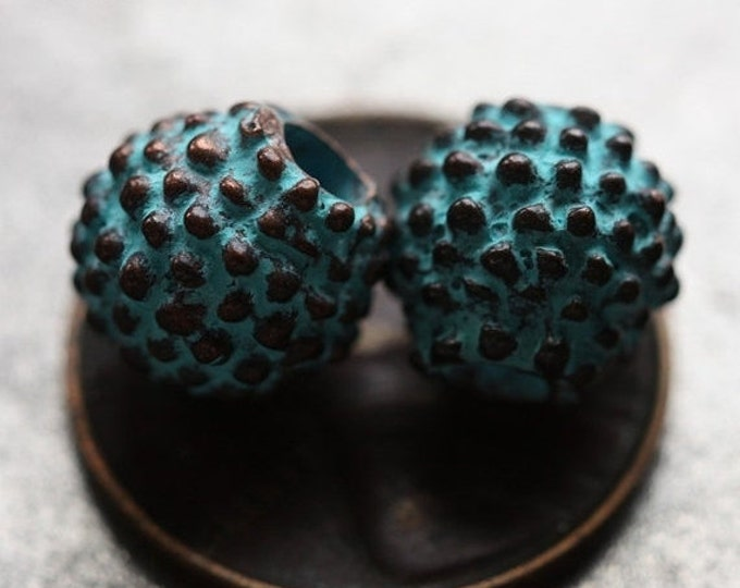 BUMPY .. 2 Mykonos Round Greek Beads 8-9mm (M27-2)