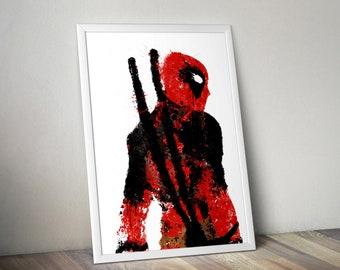 Deadpool spray splatter original painting