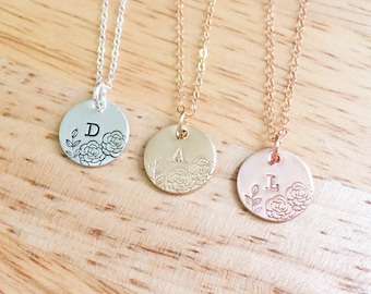 Rose Gold Inital Necklace - Gold Initial Necklace - Sterling Silver Initial Necklace - Hand Stamped Initial - Bridal Party Jewelry - Roses