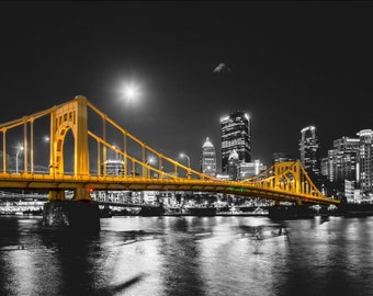 Selective color of a full moon over the Andy Warhol Bridge in Pittsburgh - Various Prints