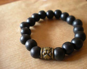BRACELET * boy *: black wood beads and bronze