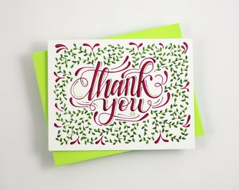 Thank You floral - one card with a green envelope