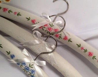 Luxury Padded White Cotton Clothes Hangers with Beautiful Rose Embroidery - Pack of 3