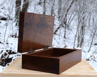 Hand Carved Black Walnut Box