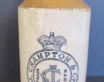 """Vintage Ginger Beer Bottle - J. Crampton & Co. - 6.75"""""""
