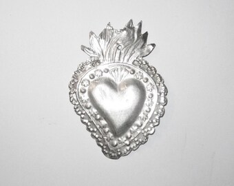 Flaming Sacred Heart Ex Voto Sterling Silver Milagro 1920-40 Large Size