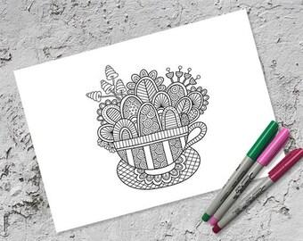 Teacup Doodle Colouring Page | Instant Digital Download | Original Doodle Design