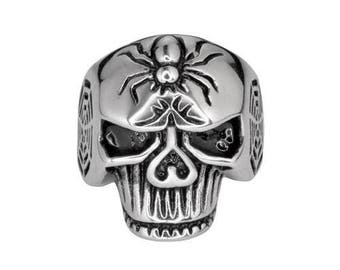 Gents Spider Skull Ring Stainless Steel Motorcycle Biker Jewelry
