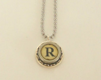 Typewriter Key Necklace, Letter R , Vintage, Initial Jewelry,  All Letters Available, Typography Jewelry,