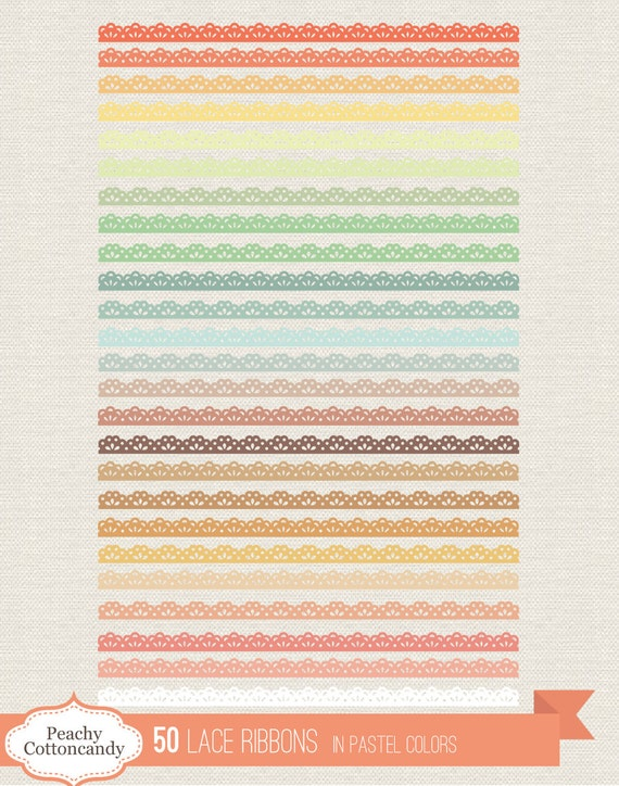 BUY 2 GET 1 FREE 50 Lace Ribbons Clip Art In Pastel Colors Ribbon Border Clipart