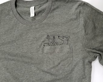 Ink hound Arts Collaboration Unisex Pocket t-shirt (For Greyhound Lovers; Sighthounds, Borzois, Galgos, Lurchers, Iggies)
