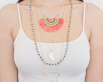 Layered Statement Necklace, Gold Feather Necklace, Boho Necklace, Pink Necklace, Festival Necklace, Coral Necklace, Latering Necklace, Gift