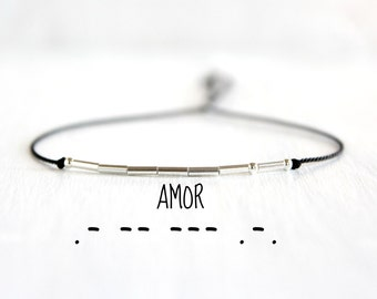 Amor Morse Code Bracelet Minimalist Love Jewelry Valentines Day Gift  Dainty Sterling Silver Beaded Love Morse Code Silk Cord Bracelet