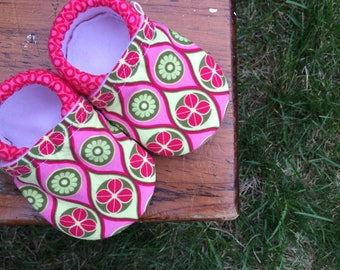 Baby Shoes for Girls - Modern Pink and Green Floral Print with Hot Pink Dot Fabric - Custom Sizes 0-24 months 2T-4T