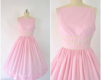 "1950's pink sundress dress/ Vintage 50's party dress sz XS  (B 32  W 23) fit and flare / Vintage 50's cotton day dress / designer ""Mr Mort"""