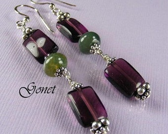 Red Fluorite Dangle Earrings  Heather Freesia  (Heather Collection)  by Gonet Jewelry Design