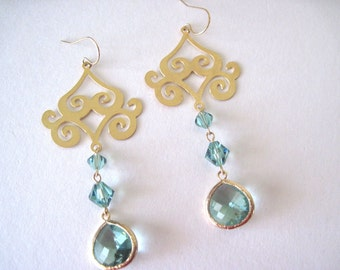 gold earrings with erinite drop