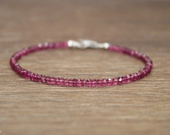 Pink Tourmaline Bracelet, Pink Tourmaline Jewelry, October Birthstone, Gemstone Jewelry