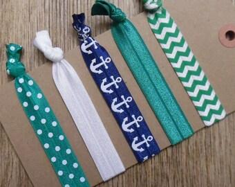 Nautical Hair Ties / Anchor Hair Ties / Yoga Hair Ties / Hair Ties / Ponytail Holders / Elastic Hair Ties / Hair Elastics / Girls Hair Ties