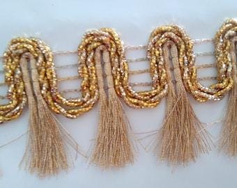 2 Yard Golden Tassels Trim Boho Fringe Trim tape Decorative Indian fringe trim, Gypsy Bohemian trim fringe ethnic trim, fringed ribbon FRT38