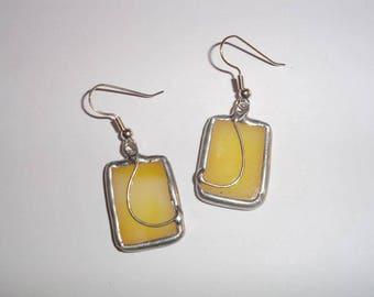 Yellow Earrings, Stained Glass Earring, Stained Glas Jewelry, Drop Earrings, Handmade Earrings, Handmade Jewelry, Fine Art Earrings