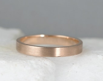 3mm 14K Rose Gold Wedding Band – Men's or Ladies Wedding Rings – Matte Finish – Pink Gold – Commitment Rings – Classic Flat Gold Bands