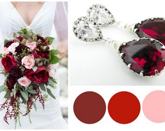 Red Statement Wedding Earrings, Marsala Wedding Earring, Marsala Bridesmaid Jewelry, Cranberry Wedding Ideas, Red Crystal Earring Bridesmaid