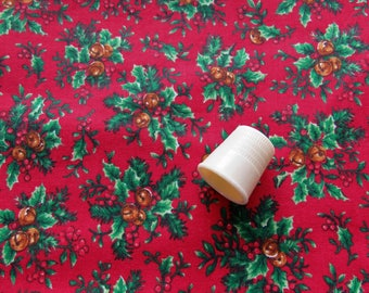 bells and holly on red christmas print vintage cotton fabric remnant