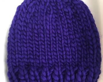Purple Chunky Hand Knit Hat