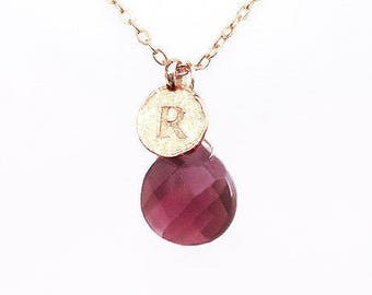 Best gold purple red R jewelry necklaces gift for women, initial R necklace, personalized red birthstone necklace, gold R mom jewelry gift