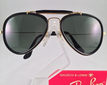 Vintage B&L Ray Ban Traditionals Style G Black Outdoorsman Aviator W0744 62mm