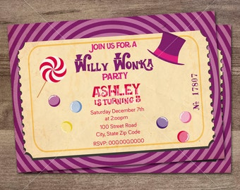 Willy Wonka Birthday Party Invitation/ Charlie and the Chocolate Factory/ Boys or Girls Invitation