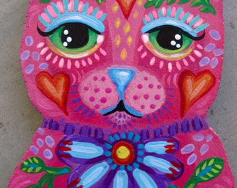 Whimsical Folk Art Kitty Cat Plaque