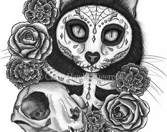 Day of the Dead Cat Skull Art Cat Drawing Gothic Mexican Sugar Skull Cat Fantasy Cat Art Print 12x16 Cat Lovers Art