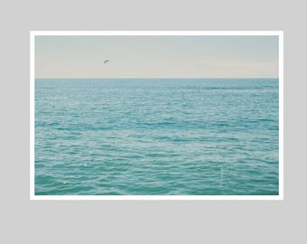 pacific ocean print, santa monica beach, beach photograph, california print, blue teal turquoise aqua, nautical print, home decor, wall art