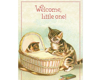 "Vintage Baby Cats ""Welcome Little One"" Greeting Card by Cavallini to Mail or for Framing, Collage, Scrapbooking, Paper Arts PSS 3591"